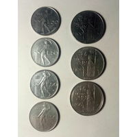 Италия 50 лир 1982,1979,1977,1969. 100 лир 1977,1968,1965. 7 шт.,одним лотом.