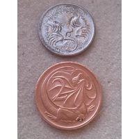 Австралия 2 цента 1971+5 центов 2006