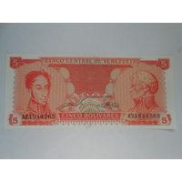 Венесуэла 5 боливаров 1989 г. Серия A21944565. UNC