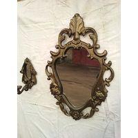 Зеркало с подсвечниками под бронзу