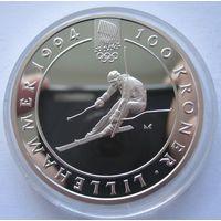 Норвегия 100 крон 1993 XVII Зимние олимпийские игры, Лиллехаммер 1994 - Горнолыжный спорт - серебро 0,925