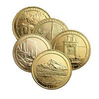 США 2010 набор КВОТЕРОВ ( 25 центов ) 5шт ПОЗОЛОТА