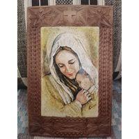 Дева Мария. Авторская работа. 2012 г. Доска