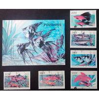Гвинея. 1998. Аквариумные рыбки. 1 блок и 6 марок. Полная серия.