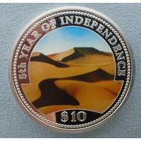 Намибия, 10 долларов 1995 г. 5-летие независимости. Пустыня. Proof. Серебро