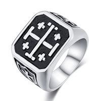 Перстень, большой, красивый (крест), титан.  распродажа