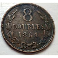 Гернси 8 дублей, 1864  1-9-9
