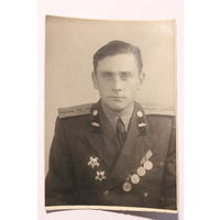 Фото офицера СА, ордена, медали, танковые войска, размер 11.5*8 см.