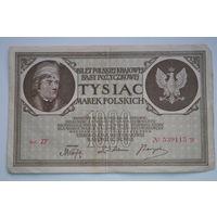 Распродажа ,1000 марок Польши 1919 серия ZF  No539115