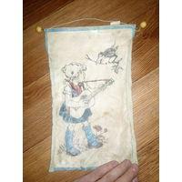 Детский сувенир ссср на стену девочка с гитарой и ворона