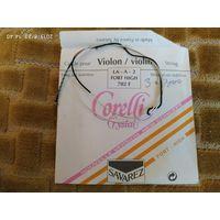 Струна скрыпка Corelli Crystal - фірма Savarez (Францыя). Выраблена на аснове нейлону з срэбнай (струны Рэ і Соль) абмоткамі. Валодаюць прыгожым цёплым тонам. Струны скрипка.  Помощь при установке.