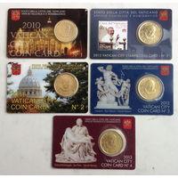Ватикан Набор из 5 шт. 50-центовых монет 2010-2013 гг.