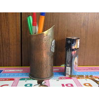 Карандашница-сувенир  из гильзы с накладкой. С рубля.