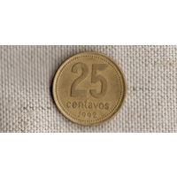 Аргентина 25 сентаво 1992/жёлтая(Zo)