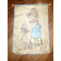 Детский сувенир ссср на стену девочка с лейкой