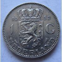 Нидерланды 1 гульден 1955 - серебро