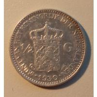 Нидерланды. 1/2 гульдена. 1930. Серебро.