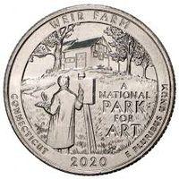 "25 центов США 2020 г.  52й парк ""Ферма Дж. А. Вейра, Коннектикут"" D"