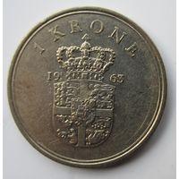 Дания 1 крона 1963  .  .8 А - 258