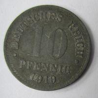 Германия. 10 пфеннигов 1919.  Не магнит.Цинк 2-86