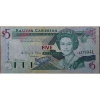 Восточные Карибы 5 долларов 1993 г.