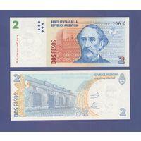 Банкнота Аргентина 2 песо не датирована (2003-14) K серия AU/UNC