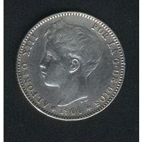 Испания 1 песета 1900 г. Альфонсо XIII.