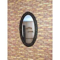 Стильное зеркало, застаренное, металл. Цвет под бронзу. Замеры: высота 97 см, ширина 53 см, ширина рамы 8 см. Хорошее состояние, пользовались около трех лет. Продаю в связи с переездом.