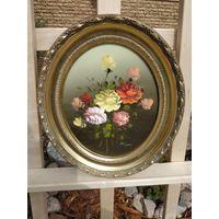 337 Красивая Винтаная Картина Цветы Масло Холст 24х19см - Рама Дерево 32х27
