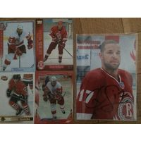 Крис Саймон. Хоккейные карточки + постер с живым автографом. Разные коллекции.