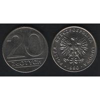 Польша y153.2 20 злотых 1990 год (mw) (h02)