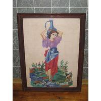 Картина вышитая старая Девушка с кувшином
