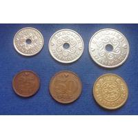 Дания 25, 50 эре (оре), 1, 2, 5, 10 крон 1990-2006