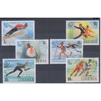 [98] Либерия 1980. Спорт.Зимняя Олимпиада. Гашеная серия+блок.