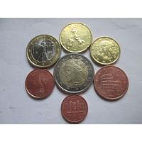 Набор евро монет Италия 2010 г. (1, 2, 5, 10, 20 евроцентов, 1, 2 евро)