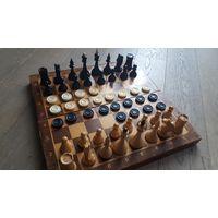 Советские деревянные шахматы. Крупный набор. + Подарок.