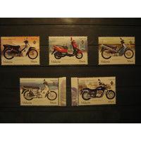 Марки - мотоциклы техника Малайзия 5 шт.