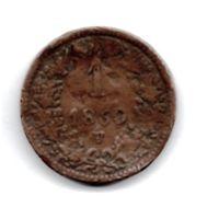 ИМПЕРИЯ  АВСТРИЯ 1 КРЕЙЦЕР 1860 V (ВЕНЕЦИЯ, КОРОЛЕВСТВО ЛОМБАРДИЯ- ВЕНЕЦИЯ) РЕДКАЯ