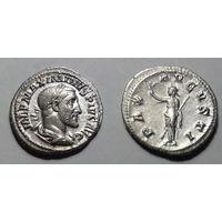 Римская Империя, Максимин Фракиец, 236 год, денарий, с богиней Пакс на реверсе.
