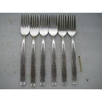 Набор столовых вилок (6 шт.) Мельхиор МНЦ. длина - 195 мм