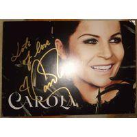 Автограф певицы Carola. Фотокарточка, золотой маркер.