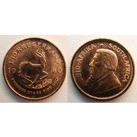 Krugerrand (Крюгерраэнд), ЮАР, 1980, инвестиционная, 1/10 oz, (в т.ч. и обмен)