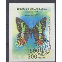 [63] Мадагаскар 1992. Фауна.Бабочка. Гашеный блок.