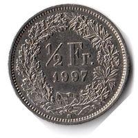 Швейцария. 1/2 франка. 1997 г. Единственное предложение данного года на АУ