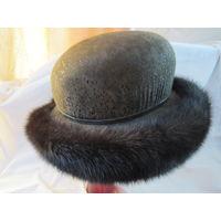 Шляпа с натуральным мехом норки
