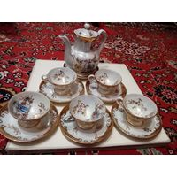 """Набор для чая """"oscar schlegelmilch"""". гдр.ТОРГ.14 предметов. 5 пиалок, 6 блюдец, чайник, сахарница, соусник"""