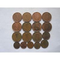 Ирландия 17 монет - пол-пенни, 1 и 2 пенса