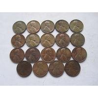 США 19 монет погодовка без повторов - 1 цент 60-70 гг.