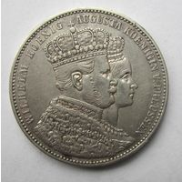 Пруссия 1 талер, 1861 Коронация Вильгельма I и Августы.  10Е-27