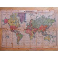 Политическая карта мира Le Monde entier 1940 г., изд. Франция